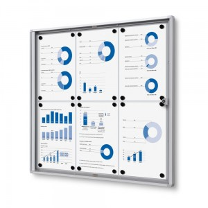 XS 6xA4 Magnetic Display Cabinet 66x61 cm Closed with a Key for Internal Use,  Internal Display, Advertising Display, Information Display, Notice Board