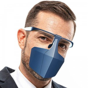 Protective Face Shield with Earmuffs and Eyeglass Holder Blue Plastic Nose and Mouth Protector Face Shield