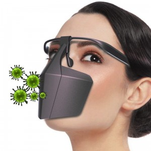 Protective Face Shield with Earmuffs and Eyeglass Holder Black Plastic Nose and Mouth Protector Face Shield