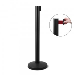 J-EXTBE Barrier Post with a Red Winding Tape 270 cm - Black Post With a Red Tape - A Barrier Post, a Post With a Rounded Tape For the Hotel, Restaurant and VIP Area