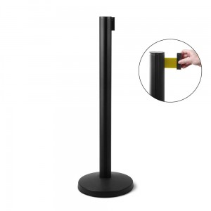 J-EXTBE Barrier Post with a Yellow Winding Tape 270 cm - Black Post With a Yellow Tape - A Barrier Post, a Post With a Rounded Tape For the Hotel, Restaurant and VIP Area