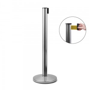 J-EXTBE Barrier Post with a Yellow Winding Tape 270 cm - Chrome Post With a Yellow Tape - A Barrier Post, a Post With a Rounded Tape For the Hotel, Restaurant and VIP Area