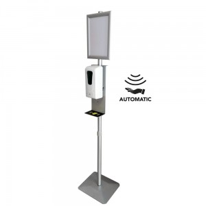 Hand Sanitizer Station with Anti-Drip Tray - Non-Contact Automatic Disinfection Gel Dispenser + Disinfection Stand with Anti-Drip Tray and Adjustable Height