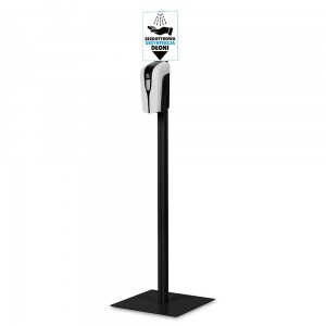 Hand Sanitizer Station - Contactless Automatic Dispenser + Stand with Adjustable Dispenser Height Black Ver. 5