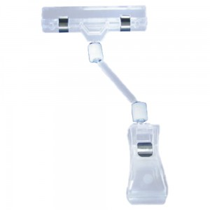 Articulated Clamp Price Tag with a Buckle and 50 mm Extension - Colourless Price Stand Holder