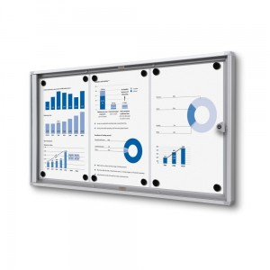XS 3xA4 Magnetic Display Cabinet 66X31 cm Closed with a Key for Internal Use,  Internal Display, Advertising Display, Information Display, Notice Board