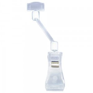 Articulated Clamp Price Tag with 50 mm Extension - Colourless Price Stand Holder