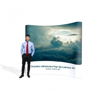 Curved Pop-Up Advertising Wall - Premium 3 x 2,2 m With Single-Sided Printout