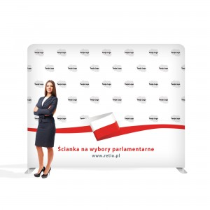 Advertising Wall for Elections 3 x 2.4 m Straight Fabric Backwall with a Printout
