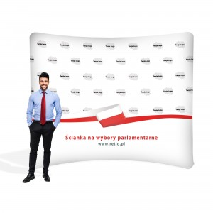 Advertising Wall for Elections 3 x 2.4 m Curved Fabric Backwall - Horizontal with a Printout