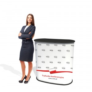 Conference Stand for Elections Arched with Graphics