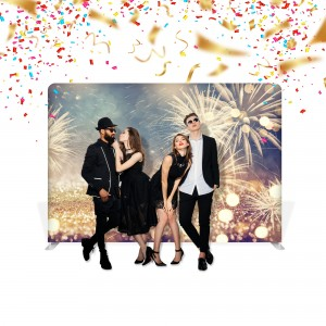 New Year's Eve Fabric Stand 3 x 2,4 m With a Double-Sided Printout