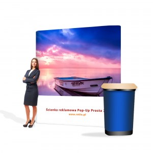 Pop-Up Premium Set - Straight Wall 2.5 x 2.2 m + Case with One-Sided Print