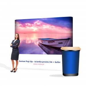 Pop-Up Premium Set - Straight Wall 3 x 2.2 m + Case with One-Sided Print