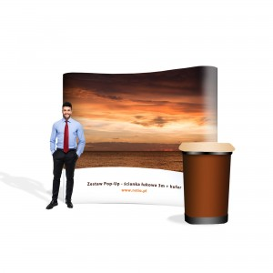 Pop-Up Premium Set - Arch Wall 3 x 2.2 m + Case with One-Sided Print
