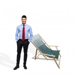 Advertising Deck Chair with Print and Armrests