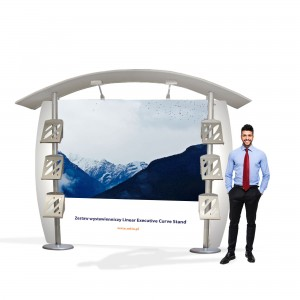 Linear Executive Curve Stand Exhibition Set 3 x 2.5 m (2 LCD Holders + 4 Pockets for Leaflets)