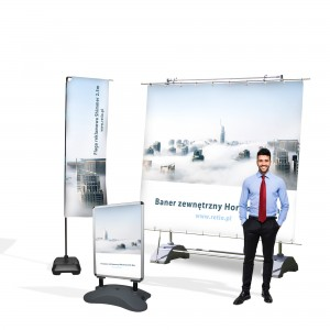 Outdoor City Advertising Set - Banner + Stand + Flag