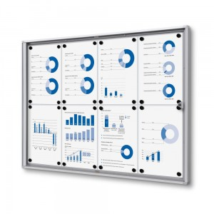 XS 8xA4 Magnetic Display Cabinet 88x61 cm Closed with a Key for Internal Use,  Internal Display, Advertising Display, Information Display, Notice Board