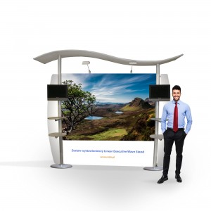 Linear Executive Wave Stand Exhibition Set 3 x 2.5 m (2 LCD Holders + 4 Shelves for Leaflets)