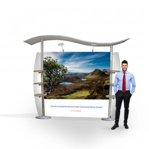 Linear Executive Wave Stand Exhibition Set 3 x 2.5 m (6 Shelves for Leaflets)