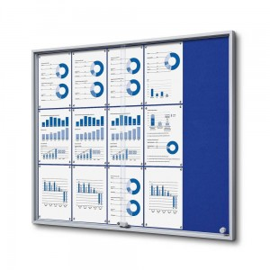 SLIM 15xA4 Felt Display Cabinet 110x92 cm, Blue, with Sliding Doors, Locked with a Key for Internal Use, Internal Display, Advertising Display, Information Display, Notice Board, Information Board