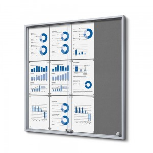 SLIM 12xA4 Felt Display Cabinet 88x92 cm, Gray, with Sliding Doors, Locked with a Key for Internal Use, Internal Display, Advertising Display, Information Display, Notice Board, Information Board