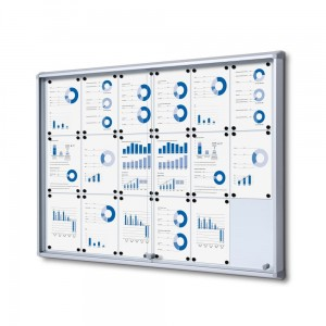 SL 18xA4 Magnetic Display Cabinet 132x92 cm with Sliding Door, Locked with a Key for Internal Use, Display Cabinet, Advertisement Display, Information Display, Notice Board, Information Board