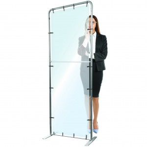 Protective Glass, Floor Standing Partition, Plexiglass Antiviral PET Cover, Plexiglass High Standing to Put on the Ground, Protective Screen 100 x 200 cm