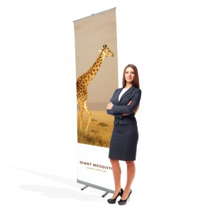 Giant Mosquito Roll-up 85 x 300 cm Large Banner Stand Rolled Up With a Printout