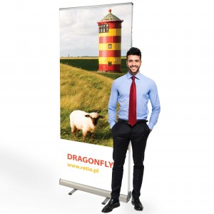 Dragonfly Roll-up 85 x 200 cm Rolled Advertising Stand With Print on Both Sides