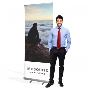 Mosquito Roll-up 100 x 200 cm Advertising Stand Like a Banner Stand Rolled Up With a Printout