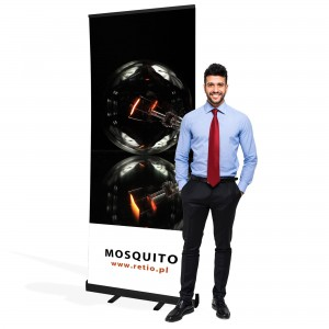 Black Mosquito Roll-up 100 x 200 Rolled Advertising Stand With a Printout