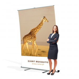 Giant Mosquito Roll-up 120 x 300 cm Large Banner Stand Rolled Up With a Printout