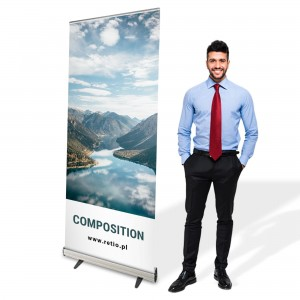 Composition Roll-up 85 x 200 cm Rolled Advertising Stand With a Printout