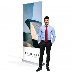Excaliber Double-Sided Roll-up 150 x 200 cm Rolled Advertising Stand With a Print on Both Sides