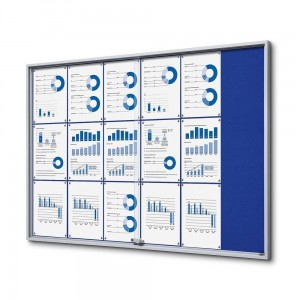 SLIM 18xA4 Felt Display Cabinet 132x92 cm, Blue, with Sliding Doors, Locked with a Key for Internal Use, Internal Display, Advertising Display, Information Display, Notice Board, Information Board
