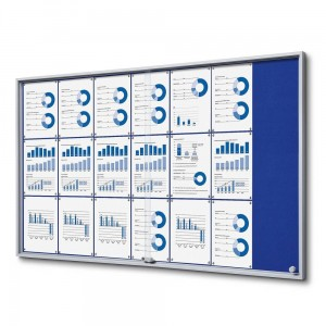 SLIM 21xA4 Felt Display Cabinet 154x92 cm, Blue, with Sliding Doors, Locked with a Key for Internal Use, Internal Display, Advertising Display, Information Display, Notice Board, Information Board