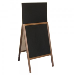 WUDEN Chalkboard Advertising Board, Dry Wipe, Wooden with a Board for Writing with a Marker, 60 x 142 cm with an Extension
