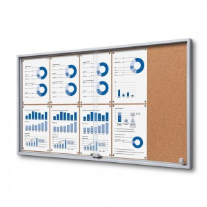 SLIM 10xA4 Cork Display Cabinet 110x61 cm with Sliding Doors Closed with a Key for Internal Use, Internal Display, Advertising Display, Information Display Notice Board, Information Board