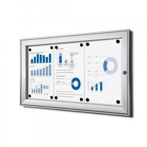 SCS 3xA4 Magnetic Display Cabinet 66x30 cm Closed with a Key for Indoor Use, Indoor and Outdoor Display Cabinet, Advertising Display Case, Information Display Case, Notice Board, Information Board