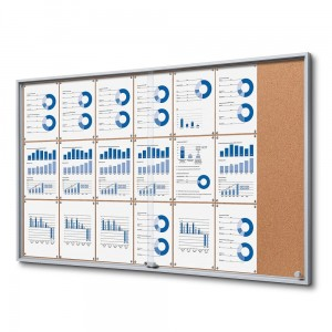 SLIM 21xA4 Cork Display Cabinet 154x92 cm with Sliding Doors Closed with a Key for Internal Use, Internal Display, Advertising Display, Information Display Notice Board, Information Board