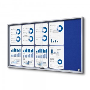 SLIM 10xA4 Felt Display Cabinet 110x61 cm, Blue, with Sliding Doors, Locked with a Key for Internal Use, Internal Display, Advertising Display, Information Display, Notice Board, Information Board