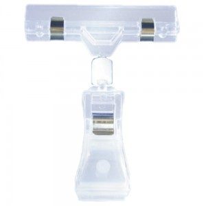 Articulated Clamp Price Tag with a Clip - Colourless Price Stand Holder