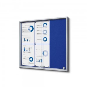 SLIM 6xA4 Felt Display Cabinet 66x61 cm, Blue, with Sliding Doors, Locked with a Key for Internal Use, Internal Display, Advertising Display, Information Display, Notice Board, Information Board