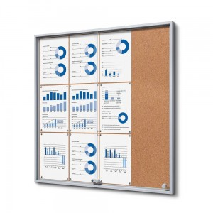 SLIM 12xA4 Cork Display Cabinet 88x92 cm with Sliding Doors Closed with a Key for Internal Use, Internal Display, Advertising Display, Information Display Notice Board, Information Board
