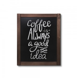 NATURE Classic Chalkboard  Dark brown 50 x 60 cm, Wooden Chalkboard with a Black Surface for Writing with Chalk Markers