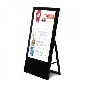 "Digital Board with 43"" Monitor. Black Stand With Monitor, Digital A-Board Screen"