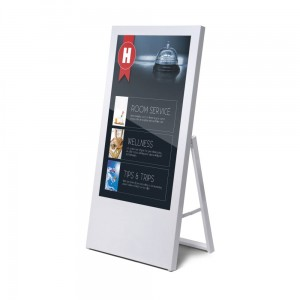 "Digital Board with 43"" Monitor. White Stand With Monitor, Digital A-Board Screen"