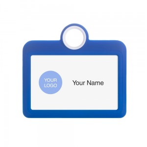 Colourful Badge on a Lanyard Blue 85 x 54 mm ID Badge Holder Plate Name Badge Pendant Silicone Badge Holder 8.5 x 5.5 cm